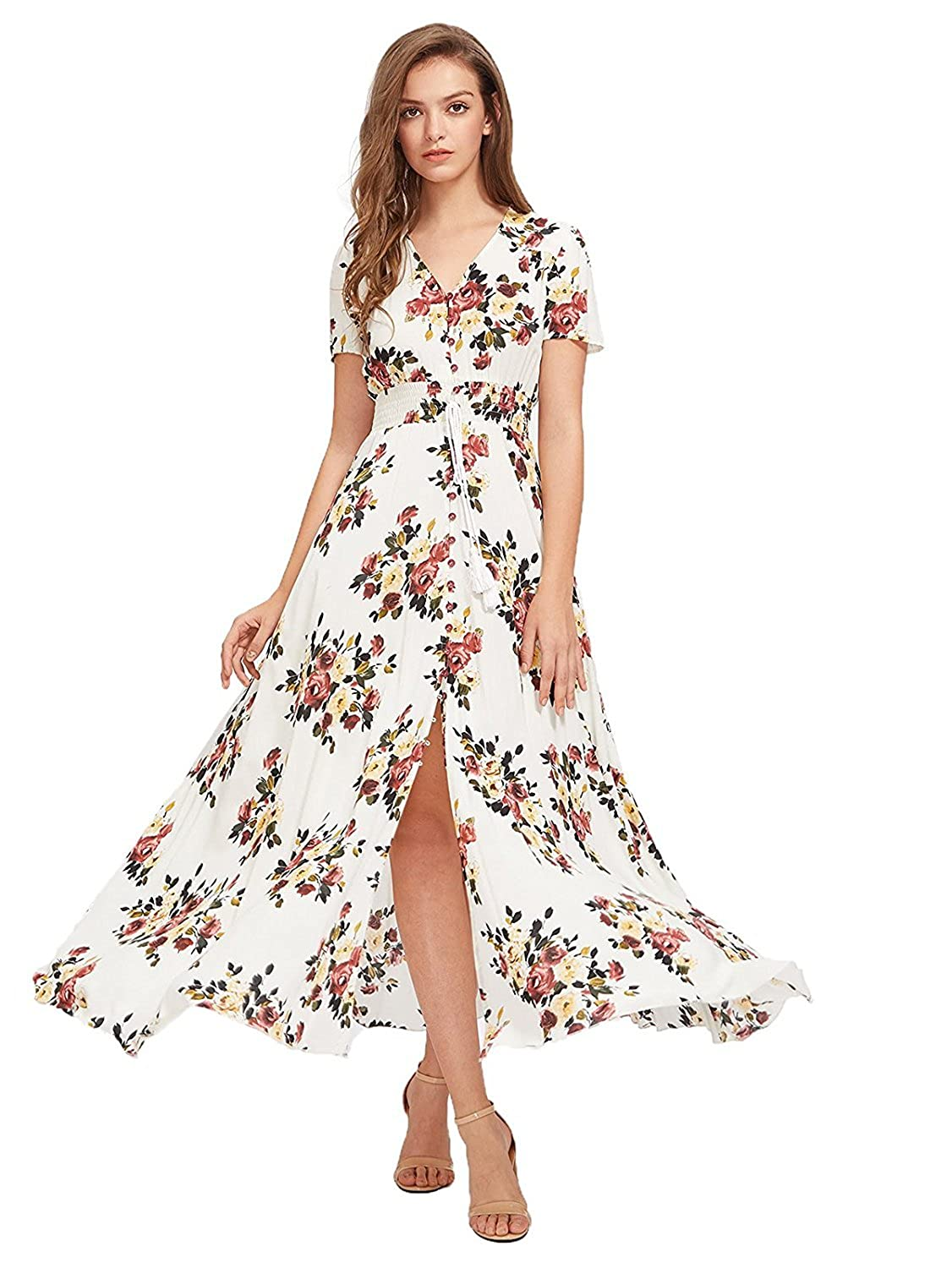 e822ca7bf8 Milumia Women's Button Up Split Floral Print Flowy Party Maxi Dress at  Amazon Women's Clothing store: