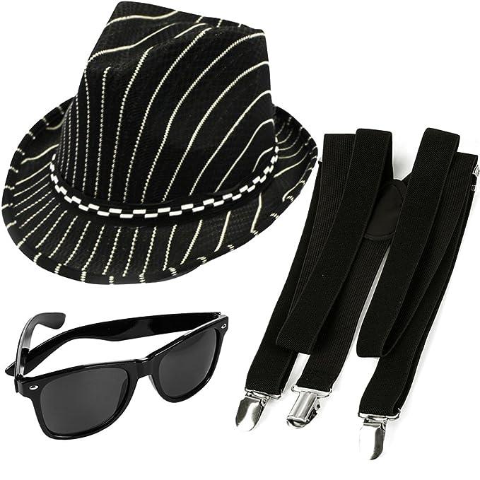 04590a5750a12 Gángster Fedora Suspender y gafas de sol Bundle - divertidos sombreros de  fiesta  Amazon.es  Ropa y accesorios