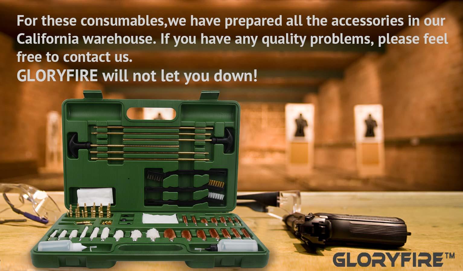 GLORYFIRE Universal Gun Cleaning Kit Hunting Rilfe Handgun Shot Gun Cleaning Kit for All Guns with Case Travel Size Portable Metal Brushes (Green 2) by GLORYFIRE (Image #7)