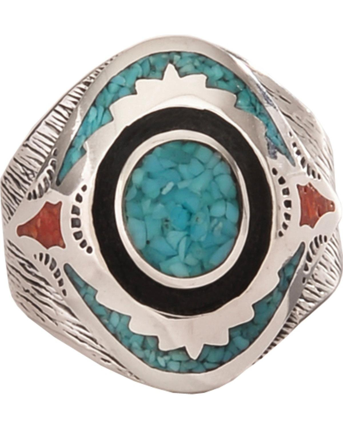 Silver Legends Women's Turquoise And Coral Southwestern Ring Turquoise 15