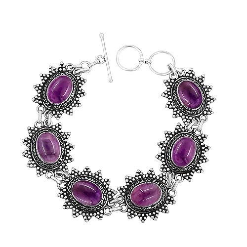 Genuine Gemstone Oval Shape 925 Silver Plated Handmade Link Bracelet Jewelry