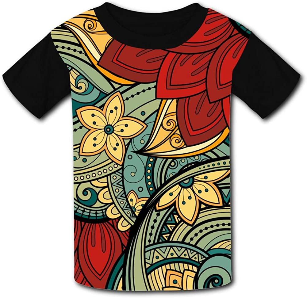 Aslgisy Complex Pattern Graphics Casual T-Shirt Short Sleeve for Kids