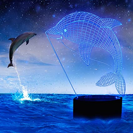 YiaMia Dolphin Gifts 3D Illusion Led Lamp Decoration Desk Kids Night Light Optical Supplies 7 Colors