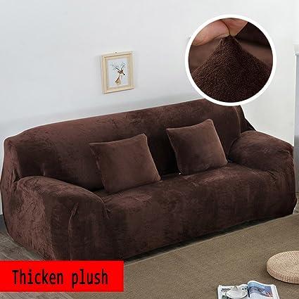 Anti-slip Elastic slipcover,Plush Solid color sofa cover,Winter Thicker  Surefit stretch Furniture protector for 1 2 3 4 cushions sofa Leather sofa  ...