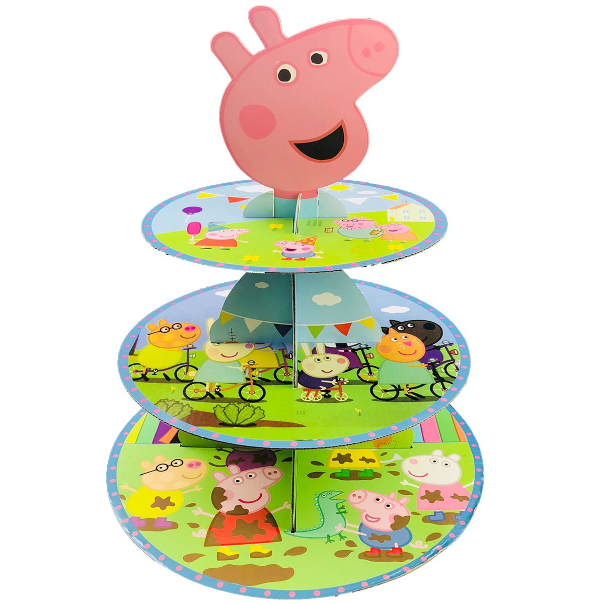 Betop House 3-Tire Peppa Pig Themed Party Cupcake Dessert Stand