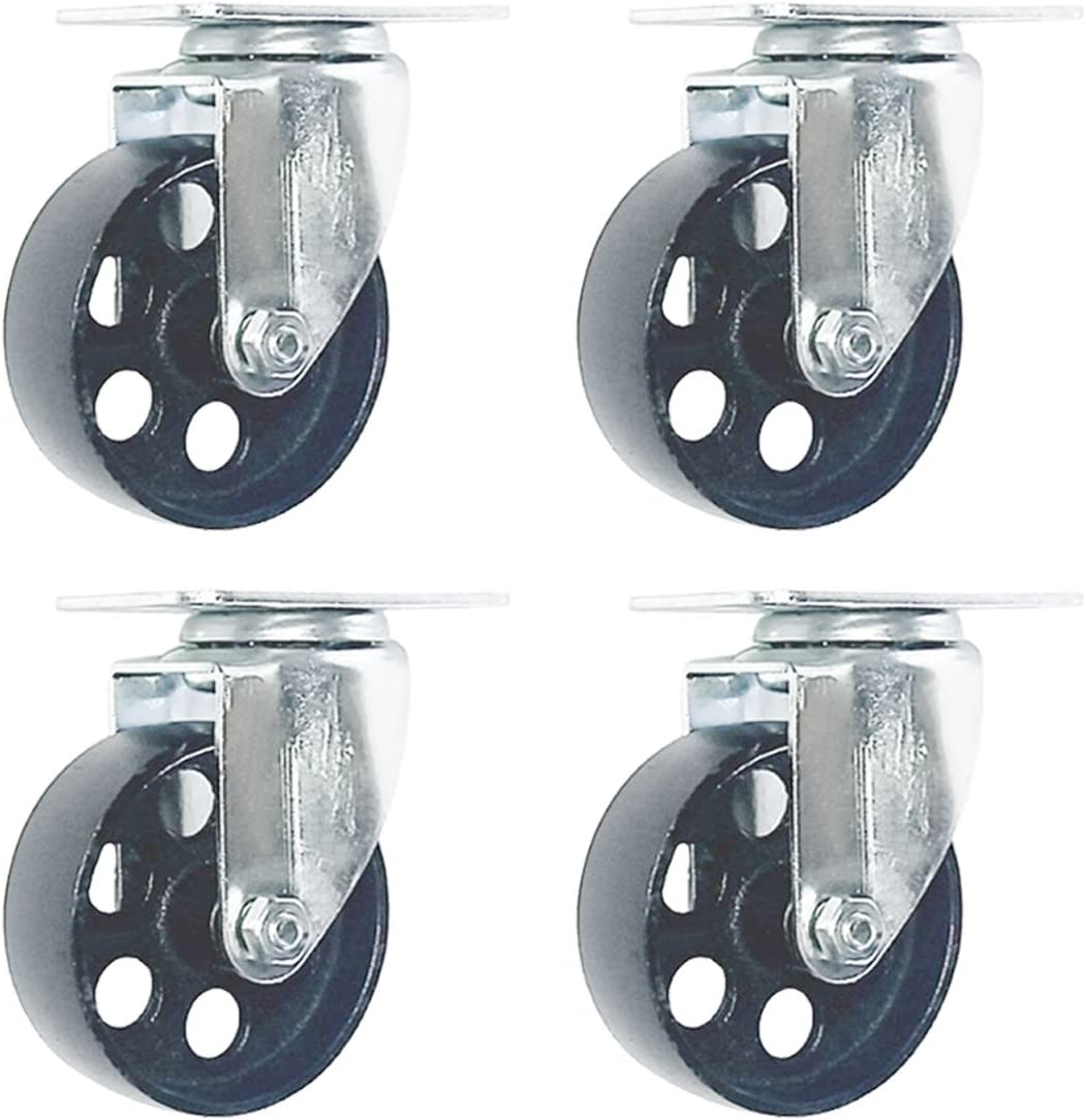 "3-1//2/"" 350-lb Capacity All-Steel Wide Wheel Swivel Top Plate Casters 2-Pc"