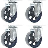 "4 Pack Large Steel Swivel Caster Wheel 1500 lb Capacity Heavy Duty 3.5"" Wheel (3.5"" No Brake)"