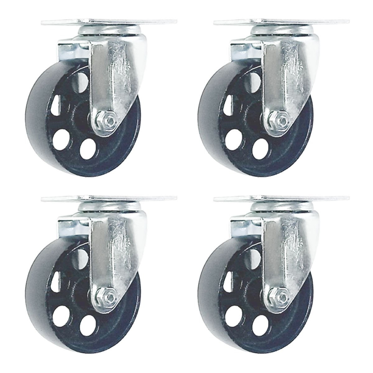 4 Pack Large Steel Swivel Caster Wheel Heavy Duty 3.5 Wheel 3.5 No Brake