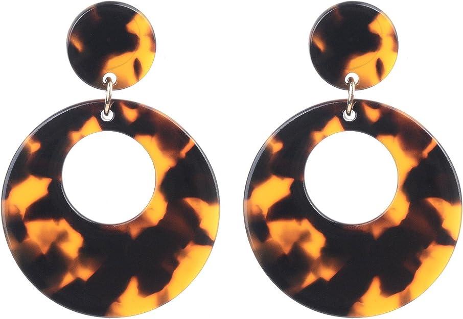 Puces en argent 925 Boucles d/'oreilles pendantes en acrylique Existe en diff\u00e9rents coloris