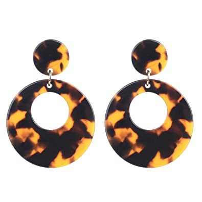 bc66618524b Acrylic Tortoise Shell Brown Resin Geometric Dangle Statement Earrings for  Women Girls