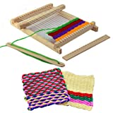 Weaving Loom by Curtzy- 9 Piece Knitting Loom with Yarn, Adjusting Rod, Comb, Shuttle, Nylon Cord and Yarn - Wooden Weaving Looms, Weaving Frame For Beginners, Adults and Children (MEDIUM)