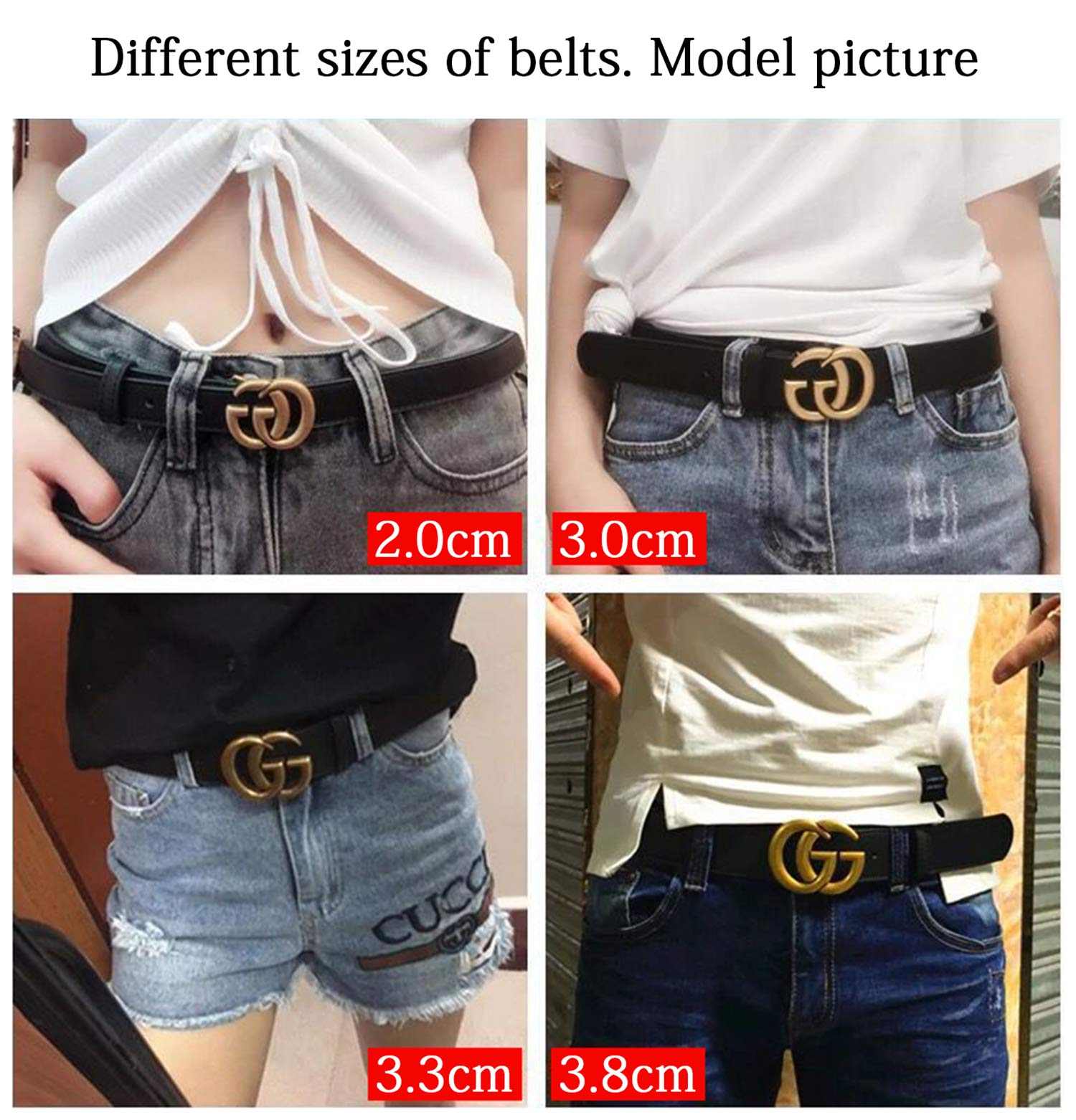 6a3bcd9cf463 Fashion G-Style Gold Buckle Unisex Cowhide Leather Belt Vintage Thin Dress  Belts For Jeans