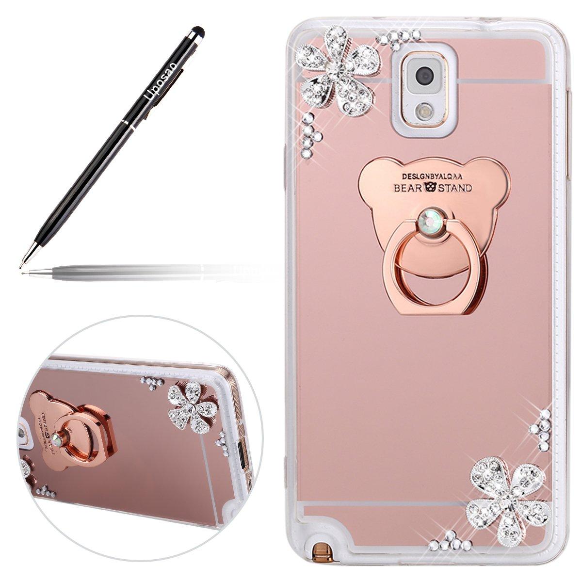 Miroir Coque pour Samsung Galaxy Note 3, Galaxy Note 3 Coque en Silicone É tui Housse,Uposao Paillette Coque pour Fille Femme Brillante Diamant Strass Bling Glitter Sparkle Placage Clair Clear View Miroir Coque pour Galaxy Note 3 Bague Support T&eac