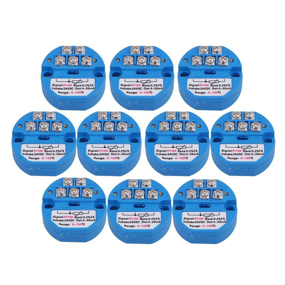 Mxfans 10Sets Blue DC24V 0~100 Degree Output 4-20mA PT100 Temperature Sensors Transmitter