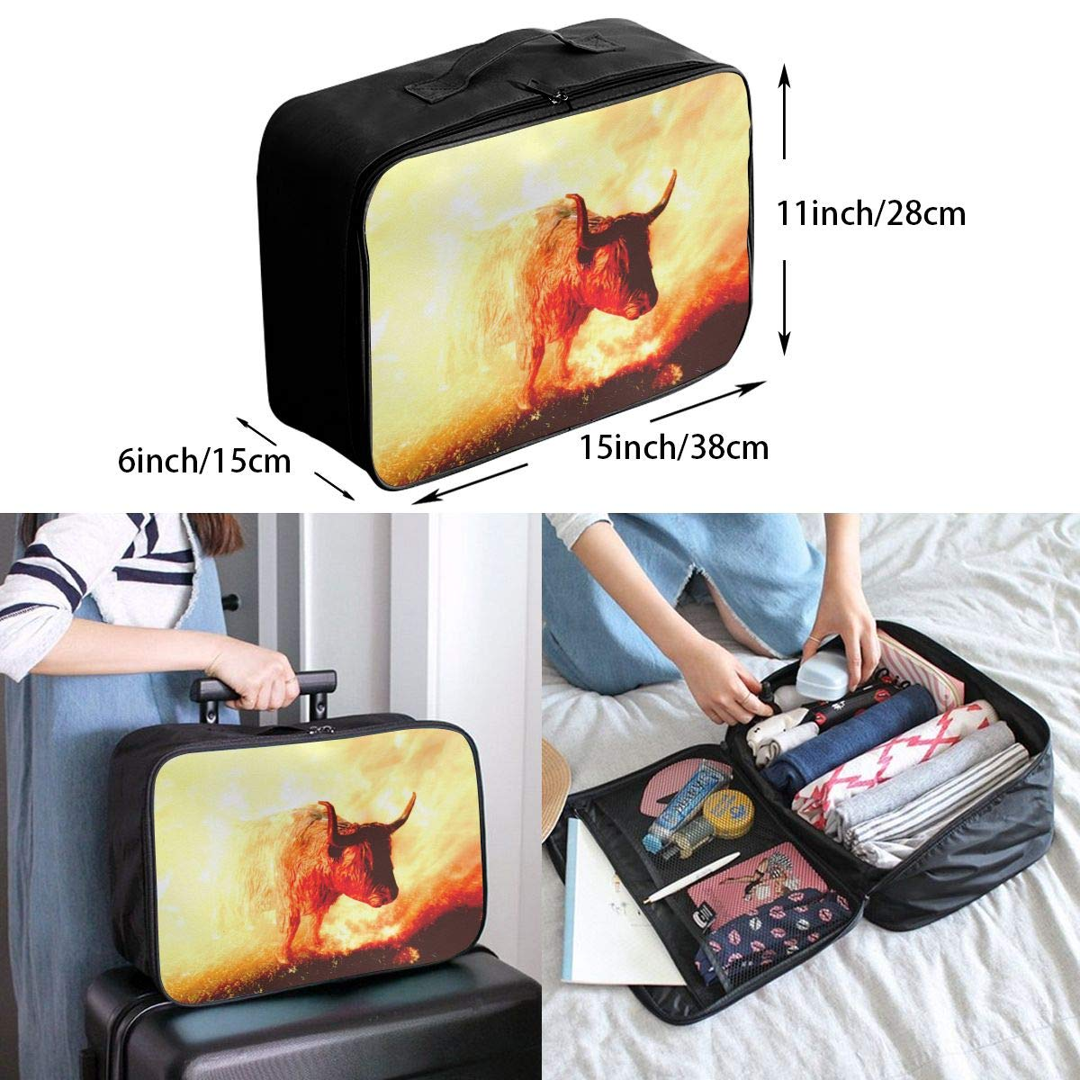 Travel Luggage Duffle Bag Lightweight Portable Handbag Cattle Animals Pattern Large Capacity Waterproof Foldable Storage Tote