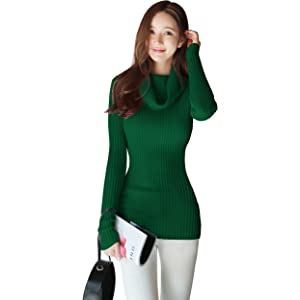 d5b749c08 v28 Women Stretchable Cowl Neck Knit Long Sleeve Slim Fit Bodycon Sweater