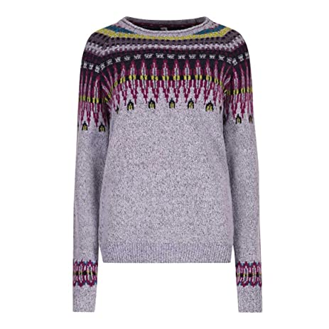 Amazon.com : Weird Fish Ladies Kara Fair Isle Jumper Pale Iris 16 ...