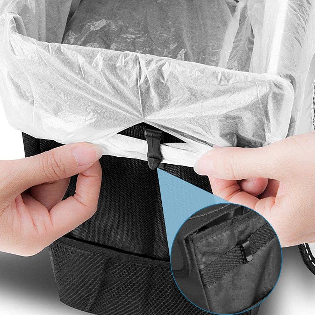SUNWAN Leakproof Waterproof Garbage Bag with Lid Foldable Antiseptic Rubbish Bin Multipurpose Dustbin Storage Pockets Car Organiser Car Trash Can