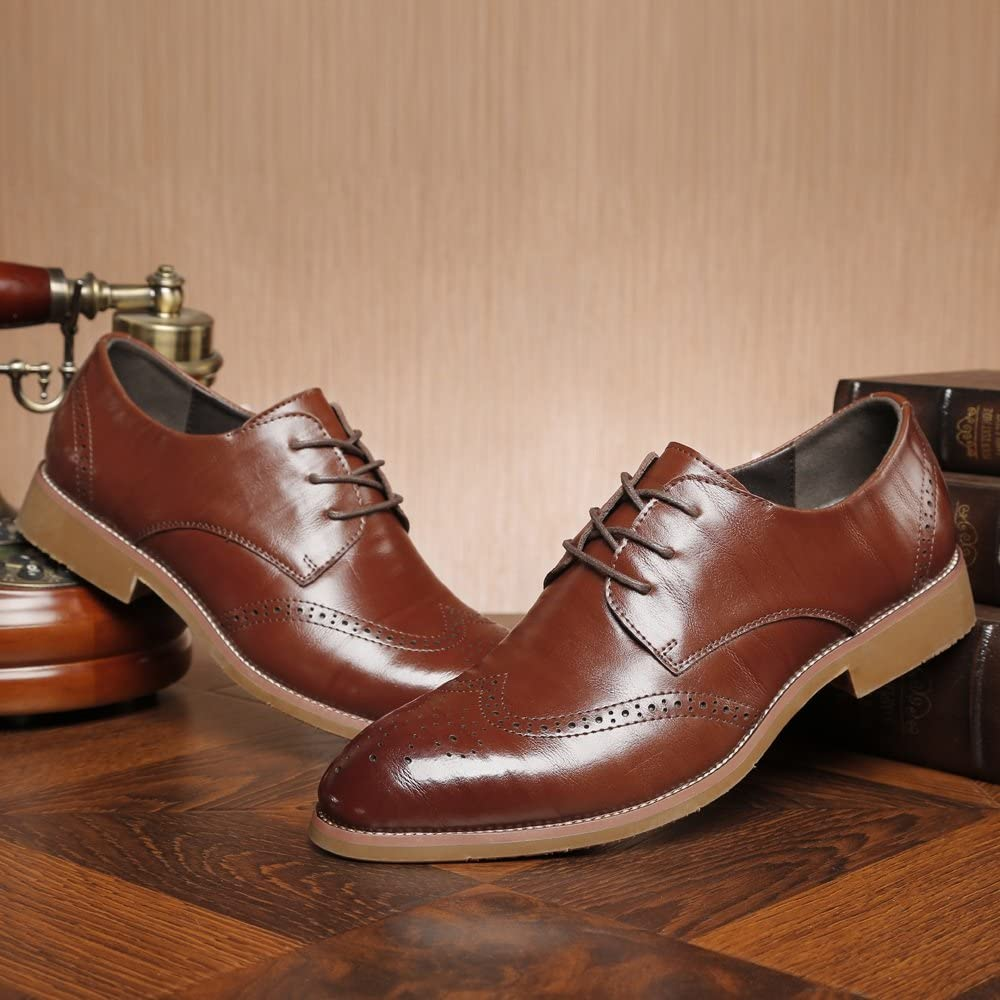 YLY Mens Business Shoes Matte Breathable Hollow Carving Genuine Leather Lace Up Lined Oxfords Dress Shoes