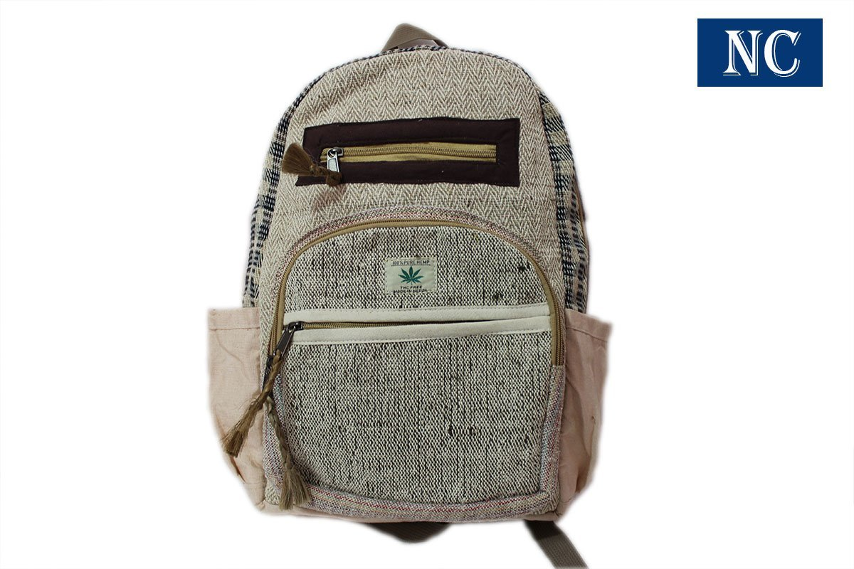 100% Pure Hemp Multi Pocket Backpack with Laptop Sleeve - Fashion Cute Travel School College Shoulder Bag / Bookbags / Daypack