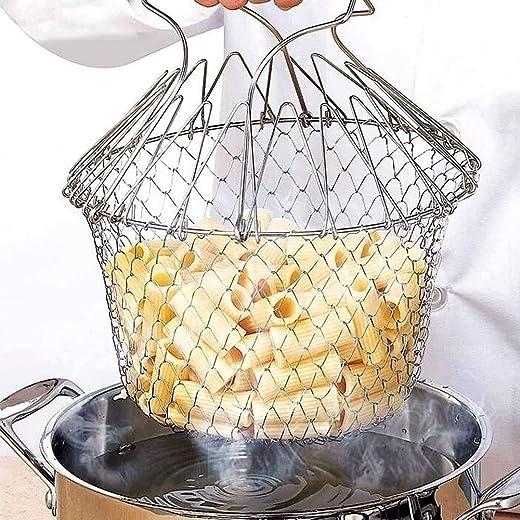 KOUZZINA Multi-Function Stainless SteelFoldable Fry Basket | Chef Basket | Poaching Boiling Deep Frying Basket | Fruit Vegetable Rinsing Washing...
