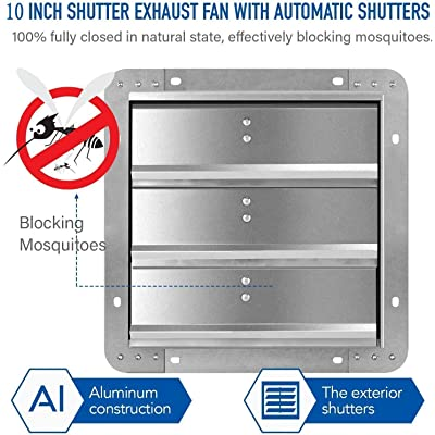 iPower 10 Inch Variable Shutter Exhaust Fan Aluminum with Speed Controller