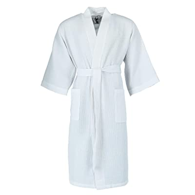 Ascentix Men's Big and Tall Waffle Weave Knit Robe, White: Clothing