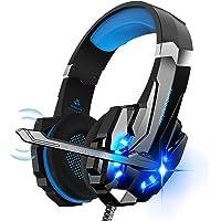 Hunterspider Auriculares de Diadema para Videojuegos con micrófono, 3.5mm Jack con Luz LED Bass Surround y Cancelación…