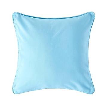 Amazon.com: Homescapes lisa azul – Funda de cojín cuadrada ...