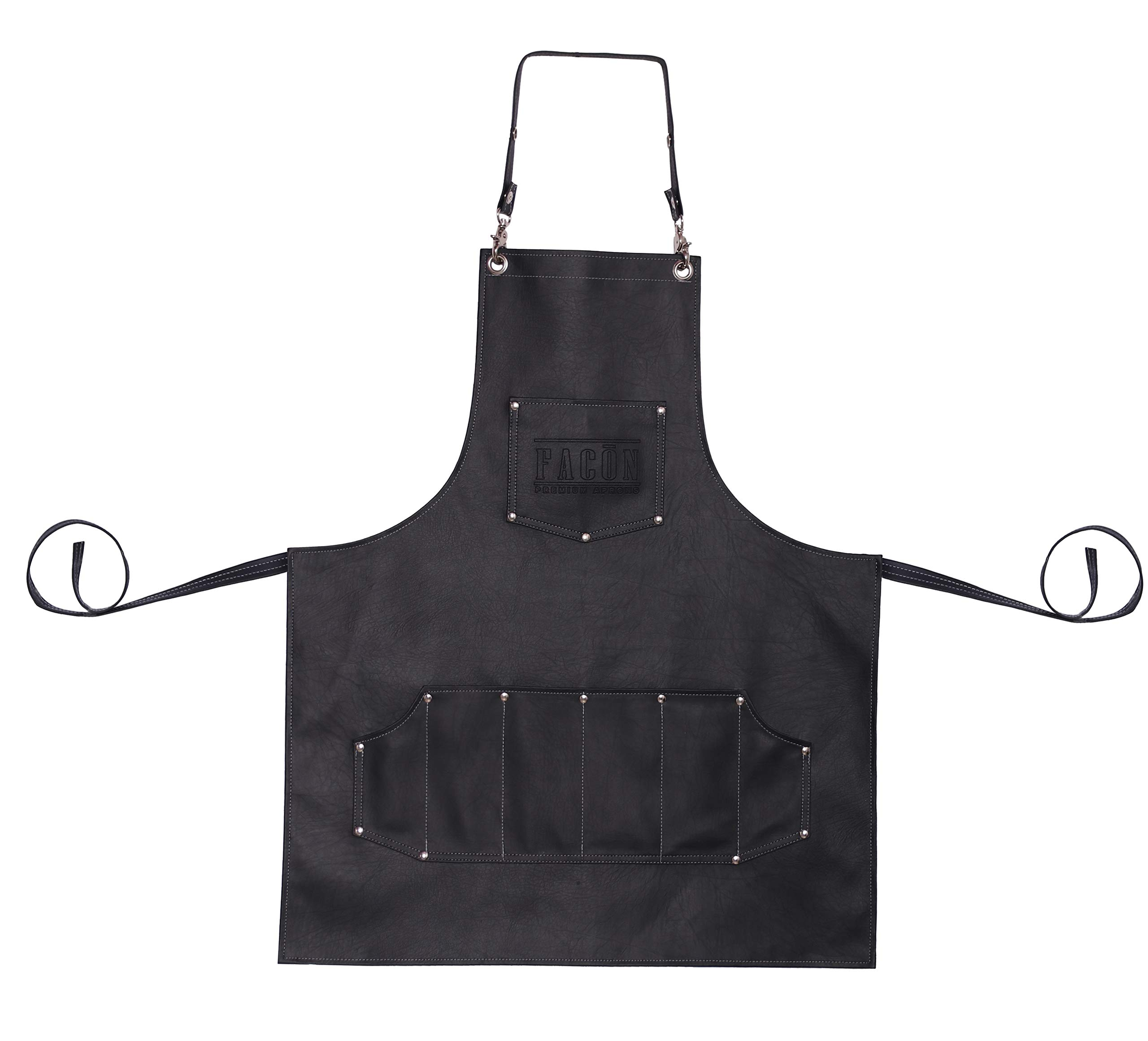 Facón Professional Leather Hair Cutting Hairdressing Barber Apron Cape for Salon Hairstylist - Multi-use, Adjustable with 7 Pockets - Heavy Duty Premium Quality - Limited Edition - 30'' x 24'' (Black) by FACON (Image #9)