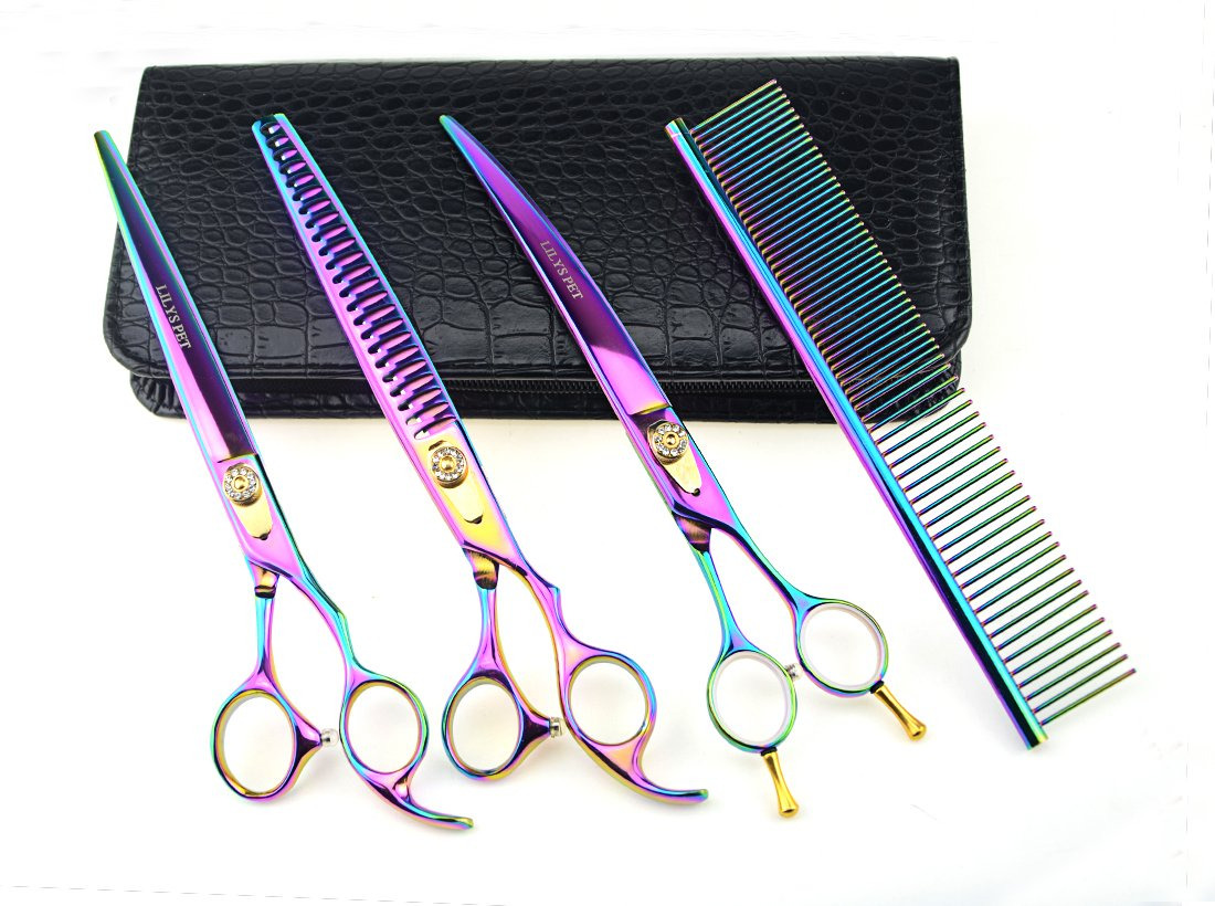 8.0\ LILYS PET HIGH-END SERIES Japan 440C Stainless Steel Professional Pet Grooming Scissors Set,Rainbow color,Cutting&Thinning&Two-way Curved shears Set (8.0 )