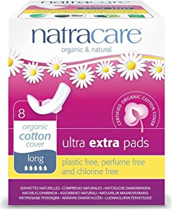 Natracare Natracare Ultra Extra Pads with Wings, Long, 8 Count