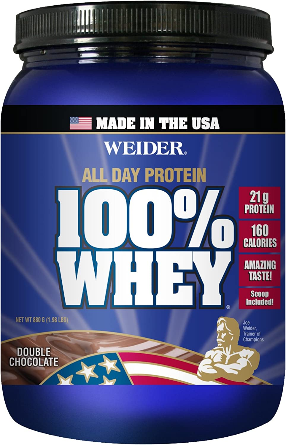 Weider Global Nutrition, ALL DAY 100 Whey Protein With Only 150 Calories Amazing Taste, Double Chocolate, 2 Pound