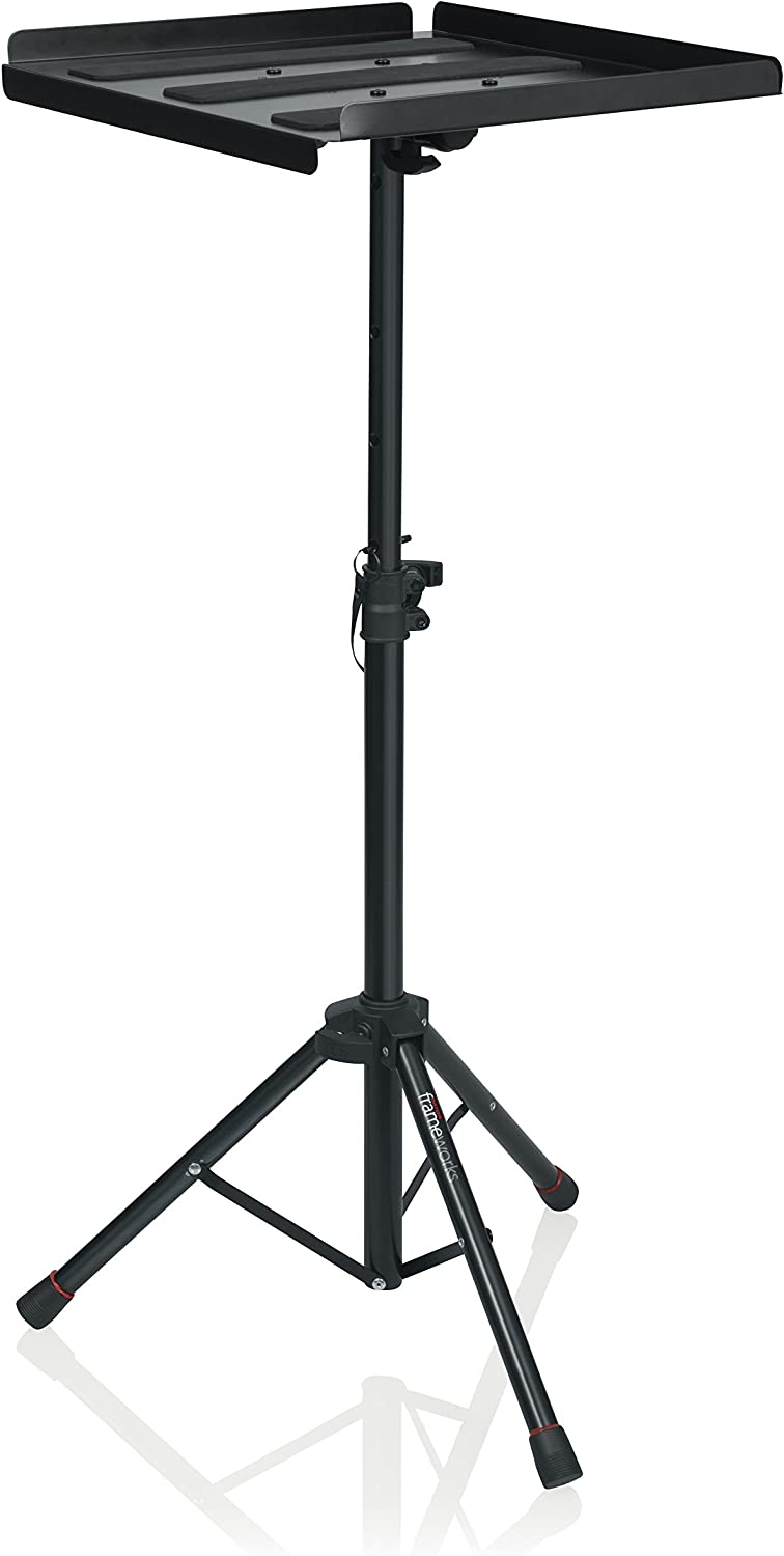 "Gator Frameworks Adjustable Multi-Media Gear Stand Featuring 100x100 Vesa Mounting Brackets | Ideal for Laptops Min/Max Height-28/44"" (GFW-UTL-MEDIATRAY1)"
