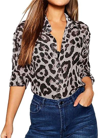 Luckycat Mujeres Manga Larga Casual Superior de Blusas Túnica Camiseta de Mujer Elegantes, Estampado de Leopardo Suelto Manga Larga Superior Oferta Camisa Tops Blanca: Amazon.es: Ropa y accesorios