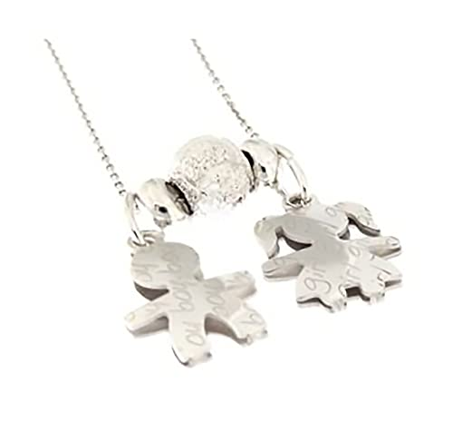 b4f1489ee9 Catenina e ciondoli Bebè BOY E GIRL in argento 925 personalizzabili con  iniziale del nome: Amazon.it: Gioielli