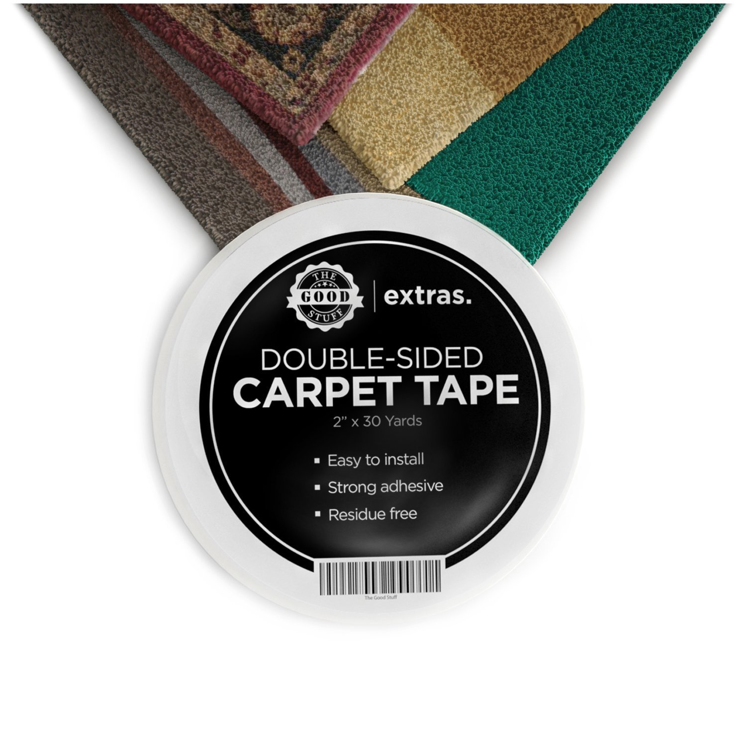 Strongest Double Sided Carpet Tape - Heavy Duty Rug Gripper Tapes for Mats, Rugs, Carpets and Runners. Secure, Non Slip, Extreme Strength, Two Sided, Sticky Tape [2 Inches x 75 Feet] by The Good Stuff (Image #1)