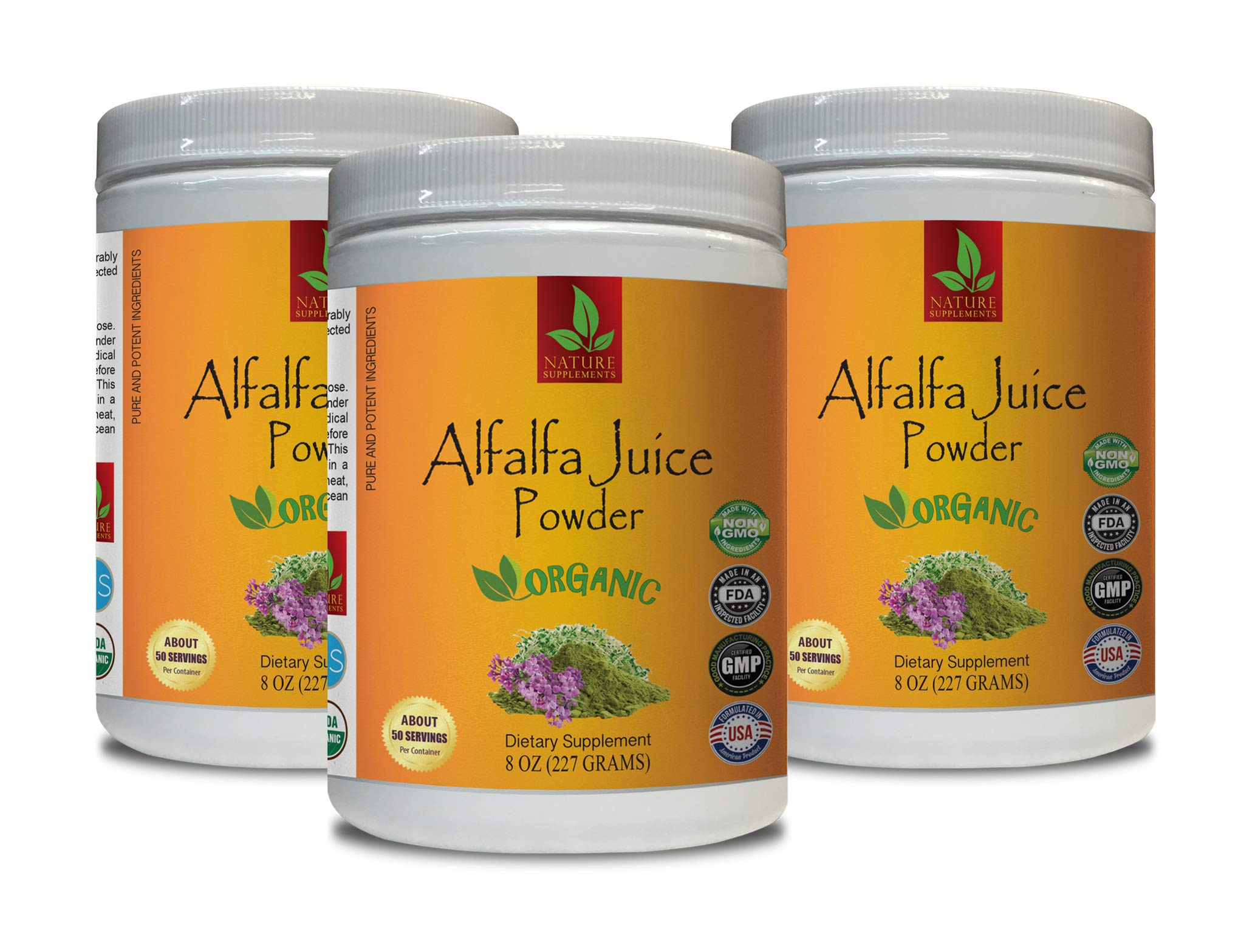 Cholesterol Supplement - Alfalfa Juice Organic Powder - Pure and Potent Ingredients - Powder Alfalfa - 3 Cans 24 OZ (150 Servings)