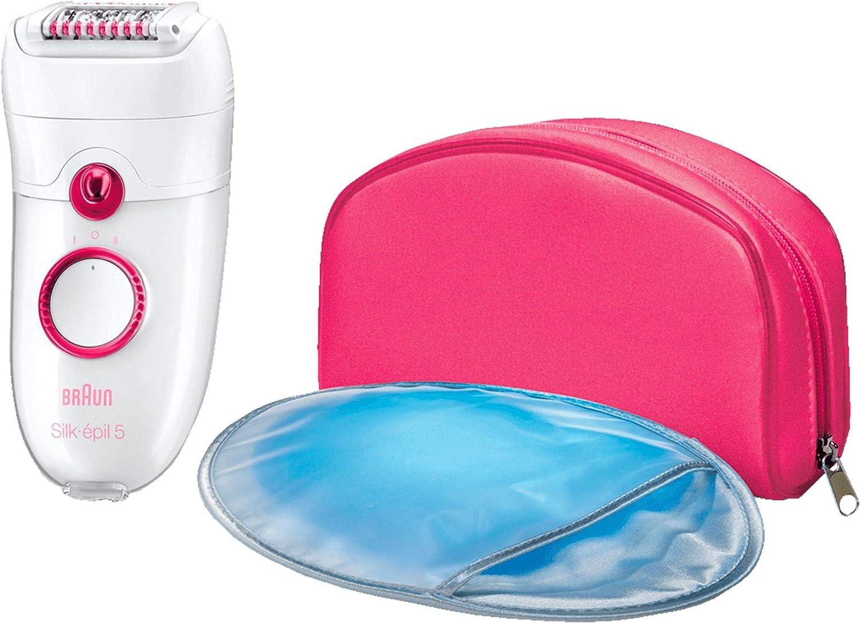 Braun Silk-épil 5 - Depiladora para mujer con 3 accesorios: masaje, guante de frío y funda rosa, color blanco y rosa