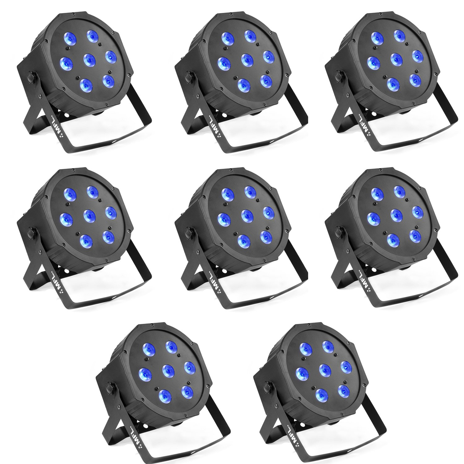 Par Lights, MFL. 7X10W RGBW Stage DJ Lighting LED DMX Par Can Light Party Lights DJ Disco Lights Wash Effect Sound Activated Modes for Party Wedding Church 8pcs