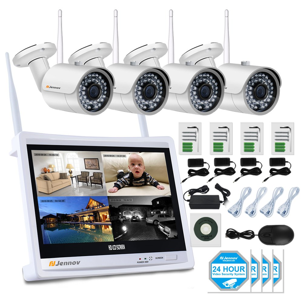 Jennov 4 Channel CCTV Wireless WiFi IP Security Camera System 12'' LCD HD Monitor 1080P NVR Kit 960P Bullet Cameras Home Outdoor Indoor Video Surveillance Mobile Phone Remote View (No Hard Drive)