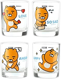 Imotion Soju Clear Glasses For Alcohol Drinks Set of 4(soju glass 소주잔), Soju Shot Glasses Set Character Glass, For Party Dishwasher Safe Clarity Glassware