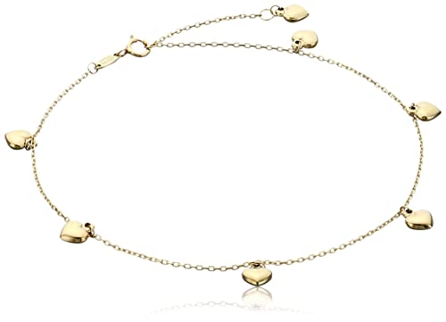 """14k Yellow Gold Puffy Heart Charms Rolo Chain Adjustable Anklet, 9"""" + 1"""" Extender"""