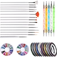 DIY Nail Art Kit,Nail Decorations tools includes 10 Striping tape,4pcs Striping Roller Box &12 Colors Rhinestones & 5pcs…