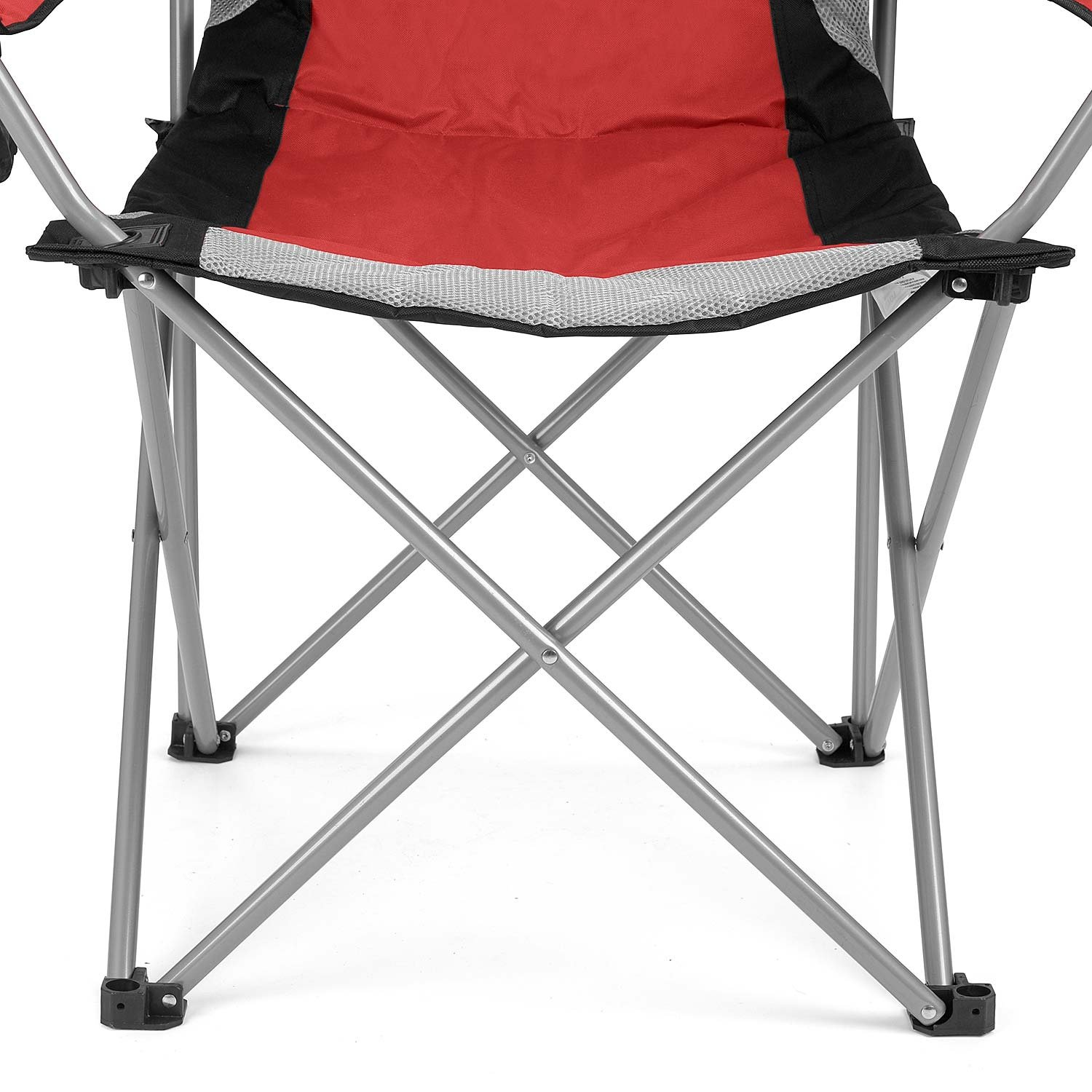 Trail Outdoor Leisure Luxury Padded Folding Camping Chair Heavy Duty High Back Directors Cup Holder