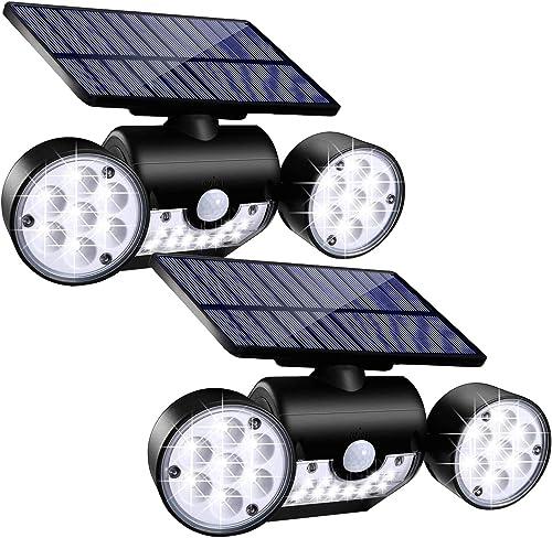 Toyawany Solar Security Lights, 3 Head Solar Motion Sensor Lights Outdoor Adjustable Flood Lights Outdoor Spotlights 360 Rotatable IP65 Waterproof for Porch Garden Patio Yard Garage Pathway 2 Pack