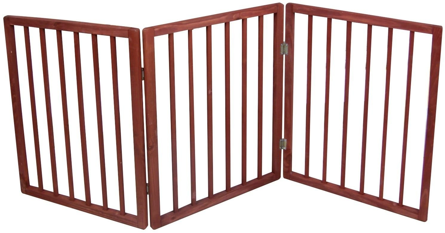 Eight24hours Freestanding Folding Wood Pet Animal Safety Gate Fence Pen Doorway Hall Stairs