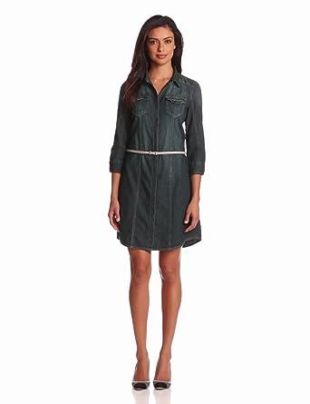 Calvin Klein Jeans Women's Denim Shirt Dress, Rocker Wash, X-Small