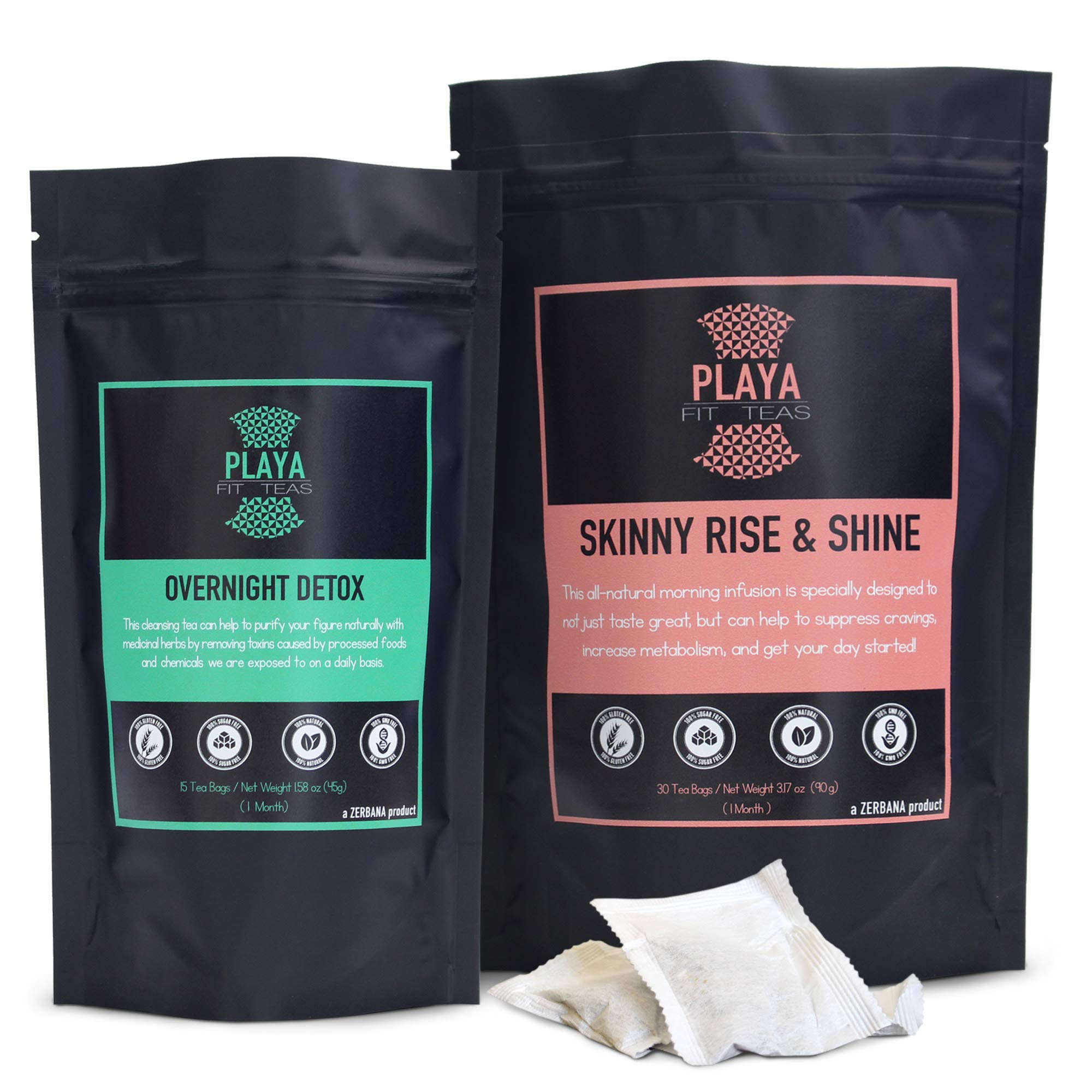 Playa Fit Teas Skinny Detox & Weight Loss - 2 Pack Day & Night - 1 Month Supply - Premium Antioxidant Rich Herbal Cleanse For Belly Fat Made In Chile - 45 Tea Bags