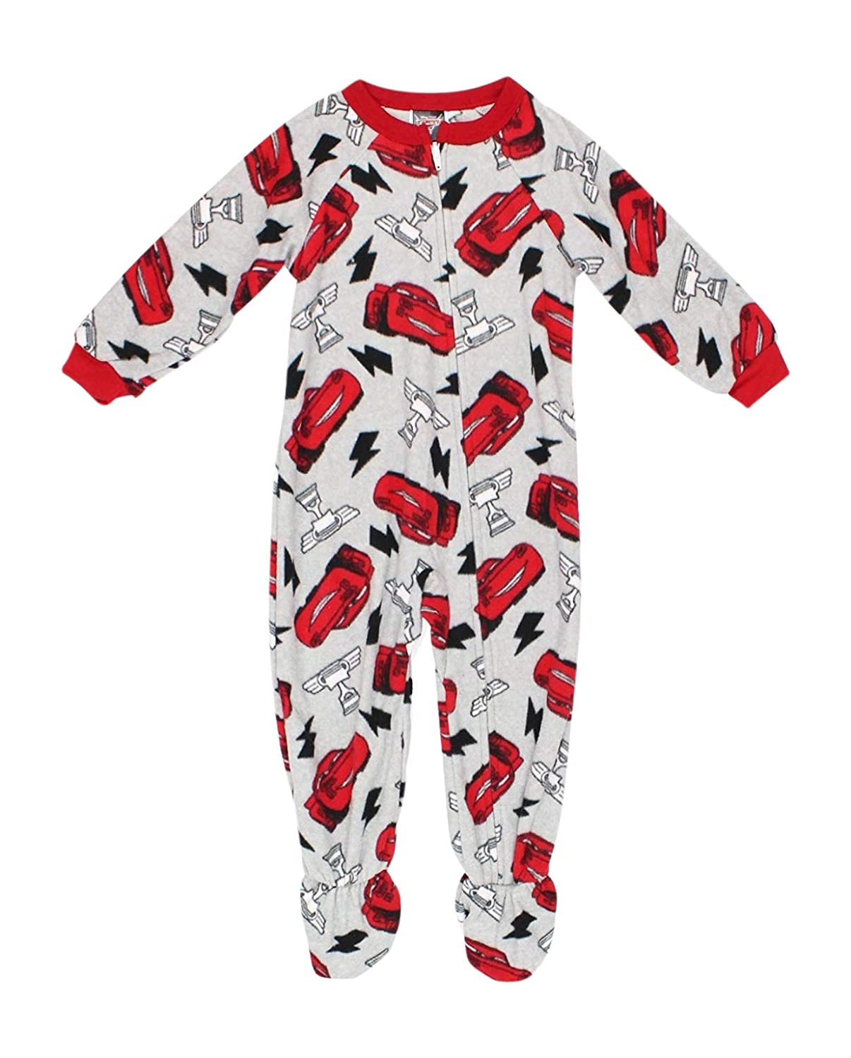 Disney Pixar Cars Boy's 2T Lighting McQueen Trophy Print Footed Pajama Sleeper